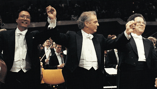 Daniel Barenboim, Itzhak Perlman, and Yo-Yo Ma in an all-Beethoven concert