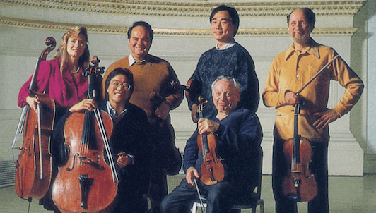 Isaac Stern, Cho-Liang Lin, Jaime Laredo, Michael Tree, Yo-Yo Ma, and Sharon Robinson rehearse and play Brahms's String Sextets No. 1 & 2
